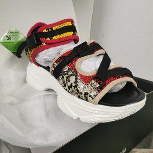 Fashion Nova Snake Print Platformed Sandals
